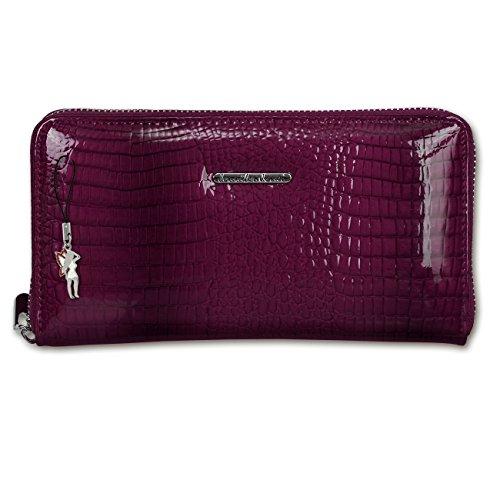 Geldbörse, Wristlet violet Croco Optik Portemonnaie Leder Jennifer Jones Handgelenktasche - DrachenLeder OTJ505V