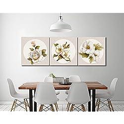 Plantas,flores,rosa blanca_Cuadro de pintura al óleo moderna Impresión de la imagen en la lona Arte de la pared para la sala de estar, Dormitorio,decoración del hogar,3 piezas 40x40,con marco