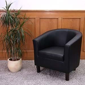 Fauteuil Crapaud / Lounge M66, simili-cuir, noir, 73x69x75cm