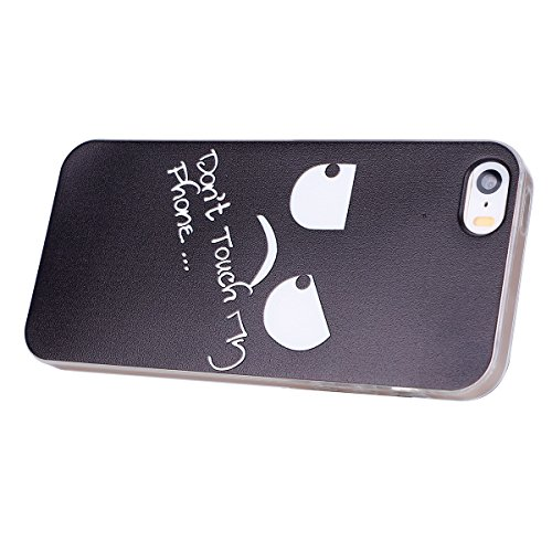 SainCat Coque Housse pour Apple iPhone 5s,Transparent Coque Silicone Etui Housse,iPhone 5 Silicone Case Soft Gel Cover Anti-Scratch Transparent Case TPU Cover,Fonction Support Protection Complète Magn Don't Touch My Phone