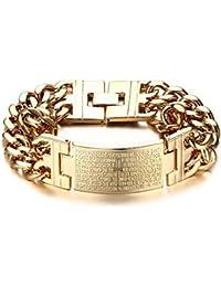 3d31a9fbd726 BOBIJOO Jewelry - Gourmette Bracelet Homme Croix Latine Jesus Acier  Inoxydable Doré à l or