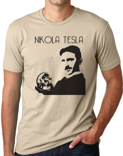 OM3 - NIKOLA TESLA - T-Shirt Physiker Erfinder Strom Nerd Elektrizität Energie Teslatron Geek EMO, S - 5XL Khaki