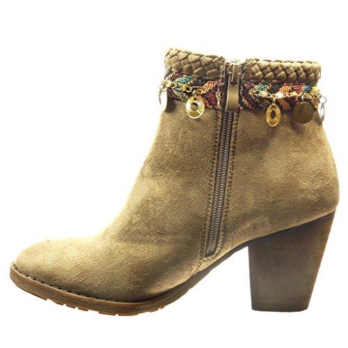 Angkorly - Chaussures Mode Bottines Bottes Basses Bottes Femme Chaîne Métallique Boucle Bloc Haut Talon 7.5 Cm Kaki