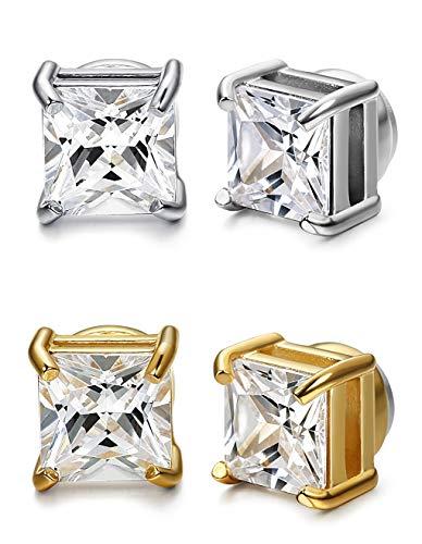 Finrezio 2 Paare Edelstahl Quadratisch CZ Magnet Ohrringe für Herren Damen Falsche Ohrstecker Fake Ohrringe Set Non-Piercing 9MM