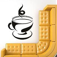Tazza di tè e piattino Wall Sticker Caffè Adesivo Art disponibile in 5 dimensioni e 25 colori Extra Grande Verde foglia