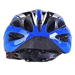 Uzexon deportes al aire libre adultos unisex 18 respiraderos bicicleta de montaña bicicleta casco con visera extraíble, ajustable sistema de ruedas, un suave malla maletero y trasera cola luz, color amarillo, tamaño Large (Azul/Negro)