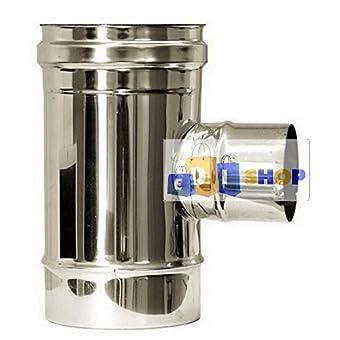 CHEMINEE PAROI SIMPLE TUYAU TUBE INOXIDABLE AISI 316 - dn 160 raccordo a tee 90° ridotto dn 80 canna fumaria tubo acciaio inox 316 parete semplice