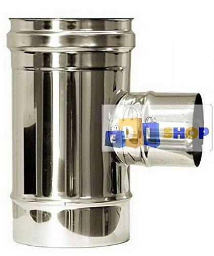 CHEMINEE PAROI SIMPLE TUYAU TUBE INOXIDABLE AISI 316 - dn 300 raccordo a tee 90° ridotto dn 80 canna fumaria tubo acciaio inox 316 parete semplice