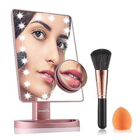 Easehold Miroir de Maquillage Écran Tactile avec Lumière Réglable 21 LED 180 Degrés de Rotation 10X Grossissement pour Chambre ou Salle de Bains (avec Pinceau de maquillage et Brosse à poudre)-Rose d