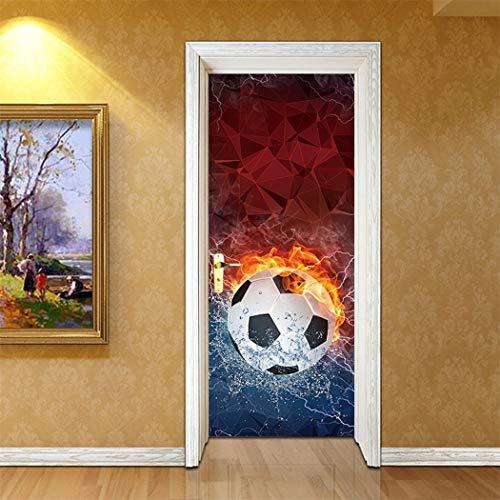 XIAOXINYUAN 3D Tür Aufkleber DIY Abnehmbare Wasserdichte EIS Feuer Fußball Wandaufkleber Wandbilder Tapete Für Schlafzimmer Wohnkultur