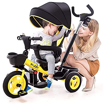GSDZSY - Luxury 4 IN 1 Children Tricycle, Comfortable Adjustable Seat For The Baby To Sit Or Lie Flat, Removable Push Handle Bar,With Safety Fence,1-6 Years Old