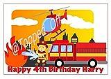 Feuerwehrmann, personalisiert, A4, rechteckig, fondant, Kuchendeko Topped Off (Kreditkartenformat)