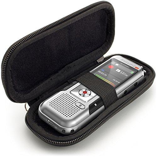igadgitz U6689 EVA Hart Schutzhulle Kompatible mit Philips DVT2510 2700 4000 4010 6010 6500, LFH 0652, Speech Tracer 1200 Digitale Diktiergerate - Schwarz