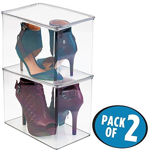 mDesign 2er-Set Schuhboxen - Schuhaufbewahrung mit Deckel - stapelbare Aufbewahrungsbox für Pumps, Stiefeletten etc. bis Größe 41/42 - durchsichtig