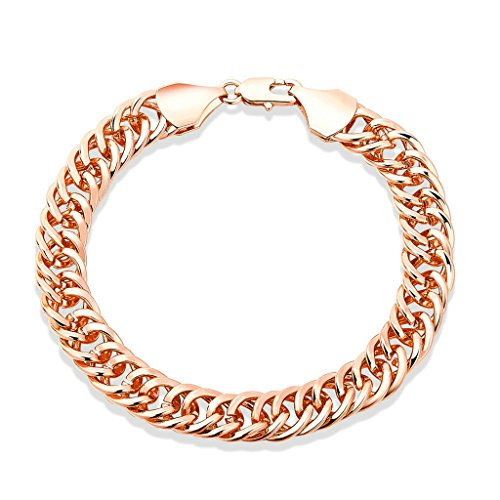 Gnzoe Placcato oro rose Double Link Curb Cuban Chain Braccialetto con Lobster Clasp per Donna,Length 20CM