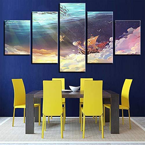 FJLOVE Wandbilder Leinwanddrucke One Piece Animation Poster Bilder Gemälde 5 Stück Moderne Kunstwerke Für Wände Dekoration,B,150x80cm