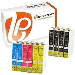 bubprint 10 cartouches compatibles avec EPSON T0711 T0712 T0713 T0714