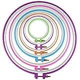 Rbenxia, set da 6pezzi di telai per il ricamo a punto croce, multicolore, in 6 diverse dimensioni da 9,4cm a 27,9cm, accessori da ricamo, accessori per hobby