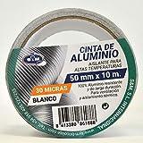 S&M Cinta aluminio blanca 50 mm x 10 m (espesor 30 micras) SANEAPLAST- Cinta adhesiva de aluminio multiusos– Rollo de 10 metros
