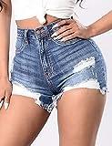 PU&PU Femme Taille Haute Micro-¨¦lastique Jeans Short Pantalon,Mince D¨¦chir¨¦ Couleur Pleine , blue , m
