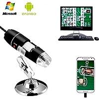 Endoscopio de Aumento 1000x de YOMYM, microscopios Mini USB con Soporte de Metal y Adaptador OTG, microscopio Digital de 2MP 8 LED USB 2.0/1.1, Compatible con Mac Window 7 8 10 Android Linux