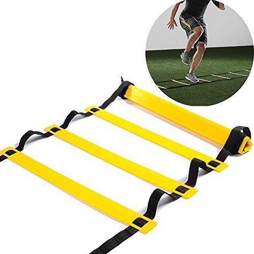Sport Trainingsleiter 10 Rung Koordinationsleiter für Fußball Speed Basketball Fußball Fitness Feet Training mit Tragetasche(15 Feet) -