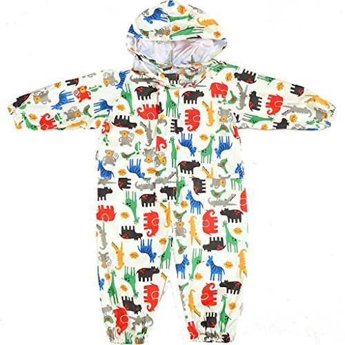 Kids All-in-One Raincoat with Cap - Girls Waterproof Windproof Rainsuit|Boys Coverall Puddle Suits Rainwear Breathable EVA Animal Pattern
