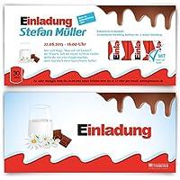 Einladungskarten Zum Geburtstag (30 Stück) Schokolade Für Kinder Schoko  Milch Riegel Kakao