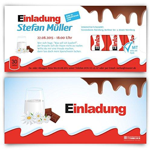 Einladungskarten zum Geburtstag (10 Stück) Schokolade für Kinder Schoko Milch Riegel Kakao