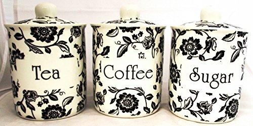 fromeuropewithlove Verona Lot de 3 boites à thé café et sucre Blanc en porcelaine fine décorée à la main