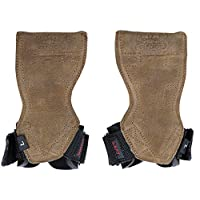 (Medium 17cm - 19cm Standard Wrist Size, Brown Nubuck Leather) - Lifting Grips PRO Weight Gloves Best Heavy Duty Straps Alternative to Power Hooks Deadlifts Adjustable Neoprene Padded Wrist Wrap