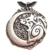 Tribal Wolf & Crescent Moon Pewter Pendant on Black Cord Choker Necklace Coyote Spirit