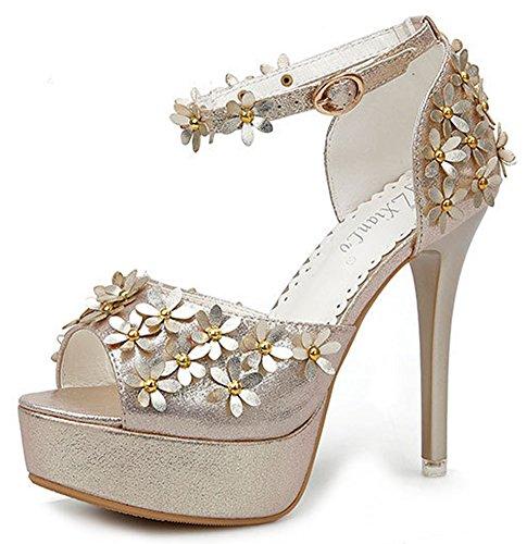 Aisun Femme Chic Fleurs Bout Ouvert Sandales Or