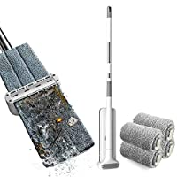 Goolsky Microfiber Mop Floor Cleaning System Washable Pads Reusable Dust Mops with Soft Refill Pads Hardwood Wood Floor Cleaner Mop Dry Wet Mop