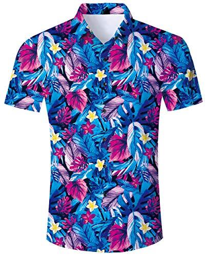 ALISISTER Hawaii Hemd Herren Bunt Blumen Hawaiihemd 3D Lustig Druckt Hässliche Aloha Button Hawaii Shirt Herren Sommer Urlaub Party Outfits Strandhemd Kostüm L Blumen-outfit