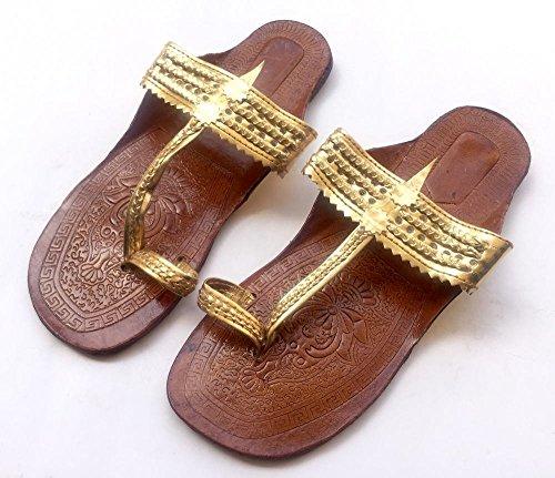 Indische Gold Kolhapuri Sandalen/Chappals/Schuhe für Frauen/Frauen Wohnungen/Frauen Sandalen/Ethno Flip Flops