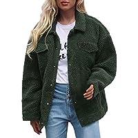 TWBB Damen Wintermantel Einfarbig Mantel Winter Faux Fur Kunstfell Warm Wintercoat Outwear Elegant