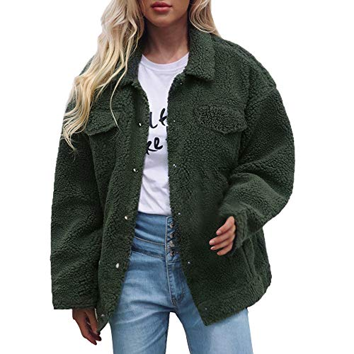 Sannysis Damen Pullover Herbst Winter Elegant Plüschmantel Cardigan Mantel Knopf Taschen Solid Jacke Winter Parka Oberbekleidung