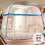 Mayihang Moskitonetz Kostenlose Installation Paket Mongolei Netze drei Falttür Reißverschluss 1,2 m 1.5/1.8M unteres Bett Home, Lavendel Blau [Alle unteren], 1,5 m (5 Fuß) Bett