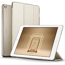 ESR Funda iPad Air 2 con Auto-Desbloquear y Función de Soporte [Ligera] de Cuero Sintético y Plástico Duro Transparente Esmerilado Cover Cáscara para Apple iPad Air 2 -Oro