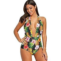 YTJH Mujer Bañador 2018 Push up Estampado Flores Piñas Traje de Baño Tropical Escote Profundo en V Monokini Sexy Espalda Descubierta Cuello Halter de Una Pieza, L/EU40