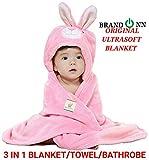 #10: Brandonn Hooded premium baby blanket for babies(Pink)