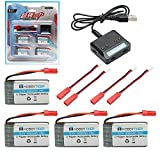 HOBBYTIGER for MJX X400 X200 X300C X500 X800 4Pcs 3.7V 800mAh Lipo Battery + 4 in 1 Battery Charger RC Quadcopter Drone Spare Parts