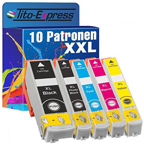 Tito-Express PlatinumSerie 10 Patronen XXL kompatibel mit Epson T3351 - T3364 33XL | Geeigent für Expression Premium XP-530 540 630 635 640 645 830 900 | Black 25ml, Color 14ml XXL-Inhalt