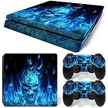 Mcbazel Calcomanías de la serie Pattern pegatinas de vinilo para PS4 Slim( Blue Skull)