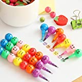#5: Jadebin Cute Colorful and Fun Smiley Face Emoticon Stacking Pencil and Stacking Crayons for Kids/B'day Return Gift (Set of 4)