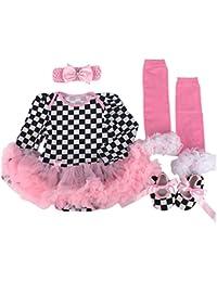 ZAMME Bebé recién nacido venda + Romper + Calcetines + Zapatos Set Outfit ropa 4pcs 064oiG