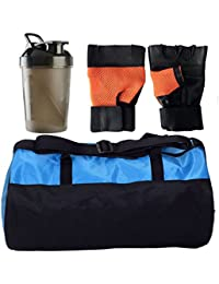 CP Bigbasket Combo Set Polyester Blue Sport Gym Duffle Bag Shoe Compartmen, Gym Shaker (400 Ml), Netted Gym &... - B077QVP9YC