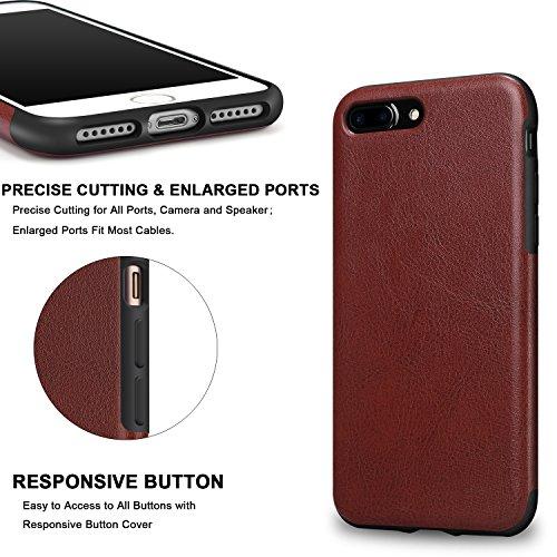 TENDLIN iPhone 7 Plus Hülle Leder mit Flexiblem TPU Silikon Hybrid Weiche Schutzhülle Rot Braun