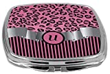 Rikki Knight Compact Mirror, Letter U Initial Light Pink Leopard Stripes Monogram